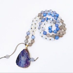 Agate Gemstone Bead Knotted Necklace